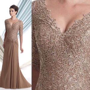 SZ 12-20 MON CHERI light coffee lace gown